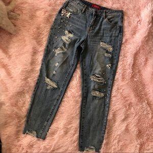 Rhinestone Distressed Jeans